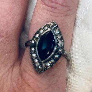 Antique Ring- Diamond Shaped Black Stone